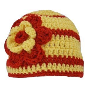 🆕Hand-Crocheted Yellow and Red Flower Beanie